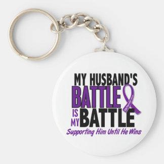 My Battle Too Husband Pancreatic Cancer Basic Round Button Key Ring