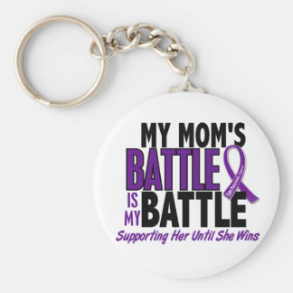 My Battle Too Mom Pancreatic Cancer Basic Round Button Key Ring