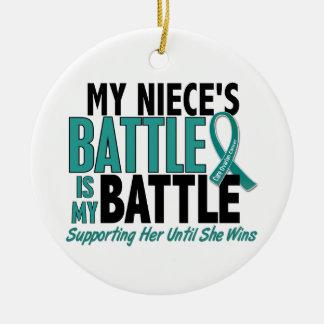 My Battle Too Niece Ovarian Cancer Christmas Ornaments