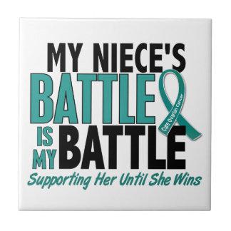 My Battle Too Niece Ovarian Cancer Ceramic Tiles