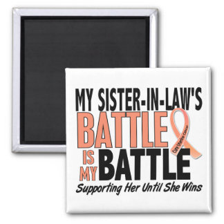 My Battle Too Sister-In-Law Uterine Cancer Fridge Magnets
