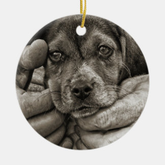 My Beagle Buddy Antique Style Photographic Art Christmas Ornament