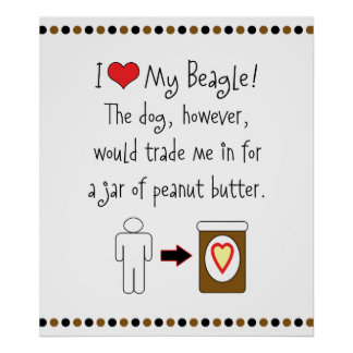 My Beagle Loves Peanut Butter Poster