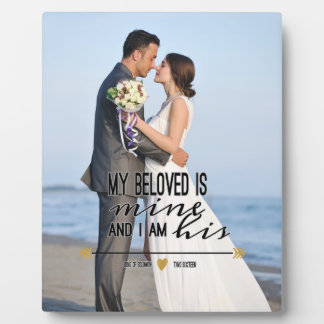 My Beloved is Mine, Scripture and Wedding Photo Photo Plaque