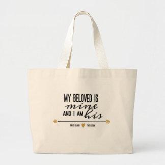 My Beloved is Mine, Scripture Large Tote Bag