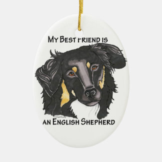 My Best Friend is a Black & Tan English Shepherd Christmas Ornament