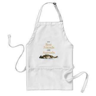 My best friends are animals cat watercolor standard apron