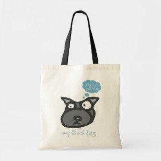My Black Dog treat me design Tote Bags