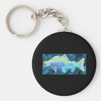 My Blue Salmon Basic Round Button Key Ring