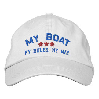MY BOAT MY RULES Personalized WHITE RED BLUE Embroidered Baseball Cap