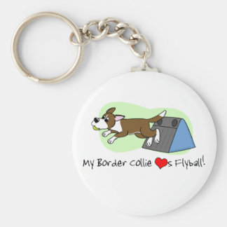 My Border Collie Loves Flyball Keychain (Brown)