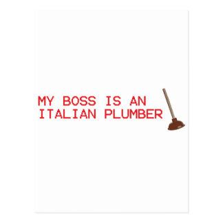 My Boss Is An Italian Plumber - Mario Video Game Postcard
