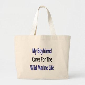 My Boyfriend Cares For The Wild Marine Life Jumbo Tote Bag