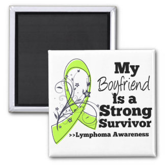 My Boyfriend is a Strong Survivor of Lymphoma 2 Inch Square Magnet