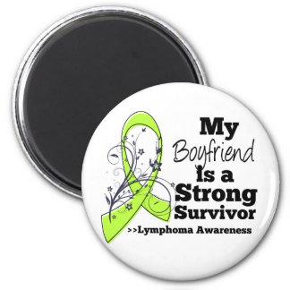 My Boyfriend is a Strong Survivor of Lymphoma 2 Inch Round Magnet