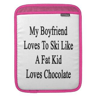 My Boyfriend Loves To Ski Like A Fat Kid Loves Cho iPad Sleeve