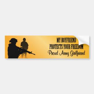 My Boyfriend Protect Your Freedom (Army Girlfriend Bumper Sticker