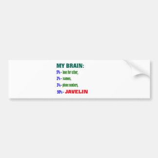 My Brain 90 % Javelin. Bumper Sticker