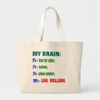 My Brain 90 % Log Rolling. Canvas Bag