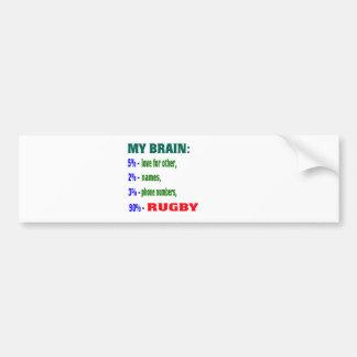My Brain 90 % Rugby. Bumper Sticker