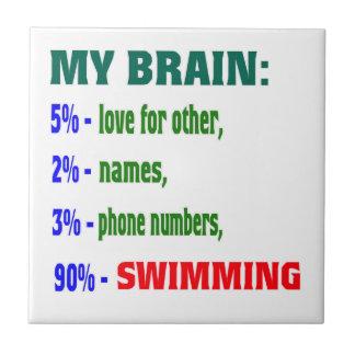My Brain 90 % Swimming. Ceramic Tile