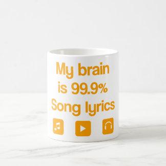 My brain is 99.9% song lyrics basic white mug