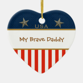 My Brave Daddy Patriotic Heart Frame Ceramic Heart Decoration