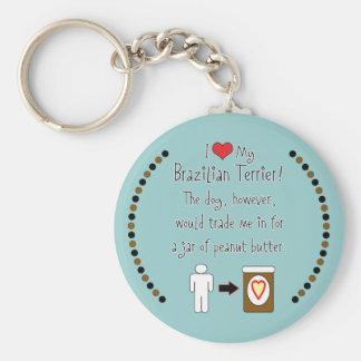 My Brazilian Terrier Loves Peanut Butter Basic Round Button Key Ring