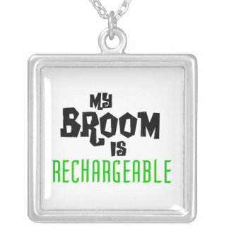 My Broom is Rechargeable Square Pendant Necklace