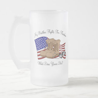 My Brother Fights For Freedom Frosted Glass Mug