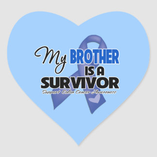 My Brother is a Survivor - Colon Cancer Heart Stickers