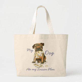 My Brussels Griffon Ate My Lesson Plan Large Tote Bag