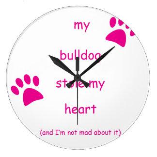My Bulldog Stole My Heart Large Clock
