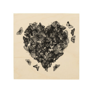 My Butterfly Heart - Black Wood Print