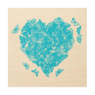My Butterfly Heart - Sky Blue Wood Print