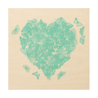 My Butterfly Heart - Turquoise Wood Wall Decor