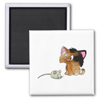 My Cat Loves Mice Square Magnet