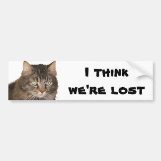 My Cat thinks we're lost Bumper Sticker