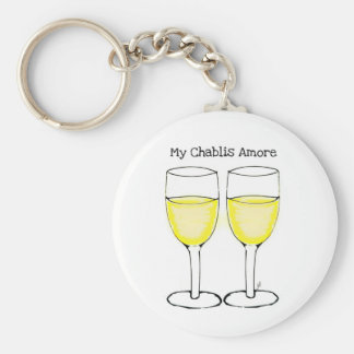 MY CHABLIS AMORE WHITE WINE PRINT BASIC ROUND BUTTON KEY RING