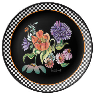 """My Checkered Garden"" Porcelain Ceramic Plate"