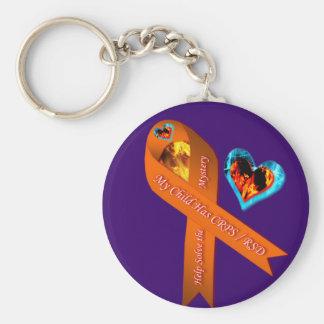 My Child Has CRPS/RSD Fire & Ice Heart Mystery Key Key Ring