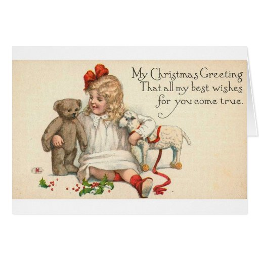 MY Christmas Greeting Child with Teddy Bear Greeting Cards