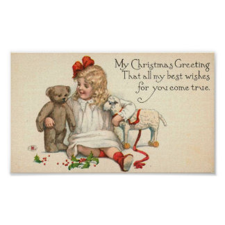 MY Christmas Greeting Child with Teddy Bear Print