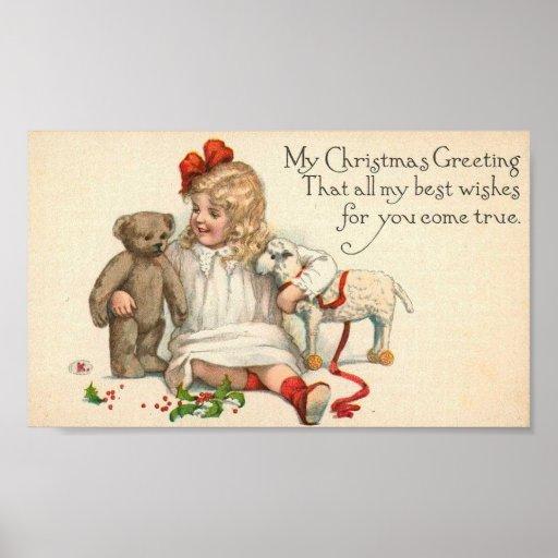 MY Christmas Greeting Child with Teddy Bear Print