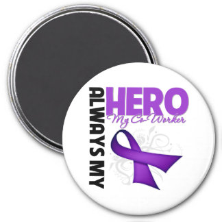 My Co-Worker Always My Hero - Purple Ribbon 7.5 Cm Round Magnet