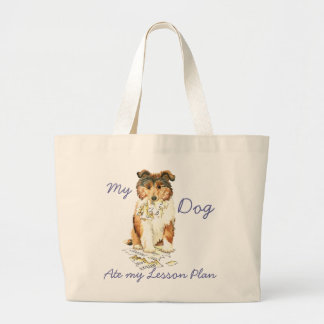 My Collie Ate My Lesson Plan Large Tote Bag