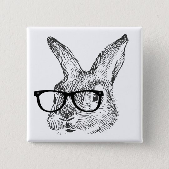 my cool rabbit with spectacles designed by Kanjiz 15 Cm Square Badge