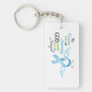 My Cousin An Angel - Prostate Cancer Single-Sided Rectangular Acrylic Key Ring