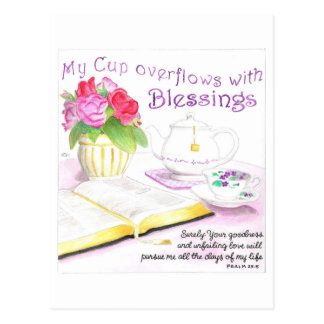 My Cup Overflows Inspirational Postcard