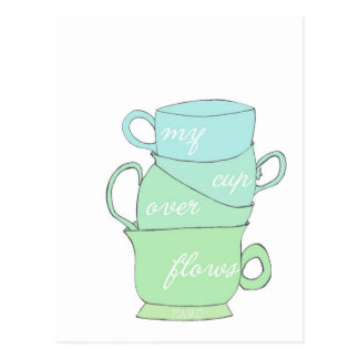 my cup overflows mug illustration psalm 23 postcard